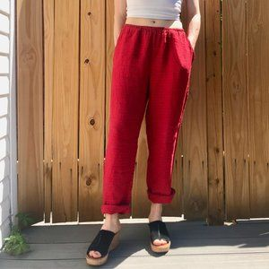 Flax red linen joggers